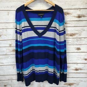 Lane Bryant Blue Gray Striped V-Neck Sweater 22/24